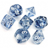 Black & White Nebula Polyhedral 7 Dice Set